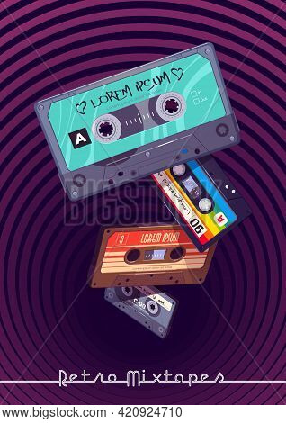 Retro Mixtapes Cartoon Poster With Audio Mix Tapes Falling Into Deep Hole With Hypnotic Pattern. Cas