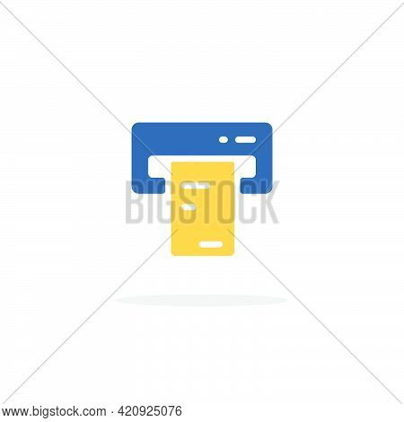 Ticket Vending Machine. Insert And Purchase. Color Icon With Shadow. Commerce Glyph Vector Illustrat