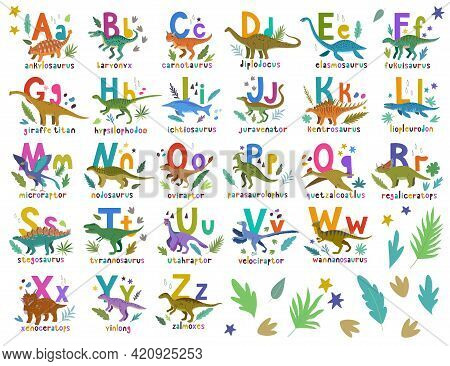 Dino Alphabet. Bright Colorful Set With Hand Drawn Cartoon Cute Dinosaurs And Letters Compositions F