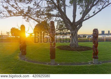 Tauranga New Zealand - May 3 2021; The Kahui Matariki Maori Carved Totem Poles In Semi-circle On The