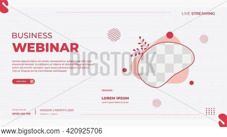 Business Webinar Banner Template For Website With Fluid Frame Suitable For Romantic Theme, Children