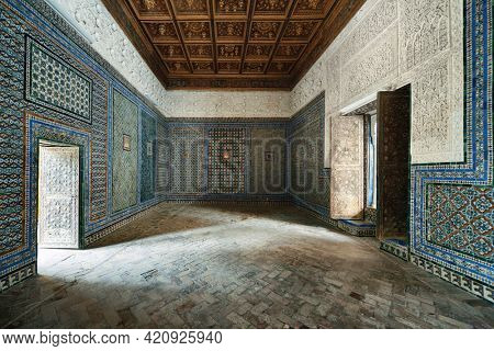 SEVILLE, SPAIN - MAY 24, 2019: Casa de Pilatos interior view with beautiful patterns and decoration in Seville, Spain.