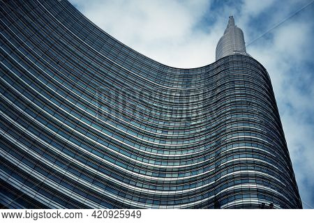 MILAN - MAY 24: Unicredit Tower closeup on May 24, 2016 in Milan, Italy. Milan is the second most populous in Italy and the main industrial and financial center.