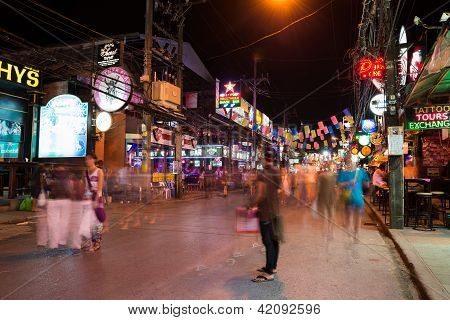 Patong Bangla Road At Night, Phuket, Thailand