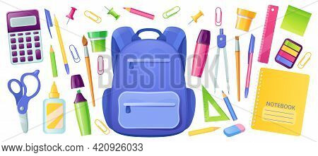 Stationery For School And Kids Backpack. Education Supplies For Children Study. Vector Cartoon Set O