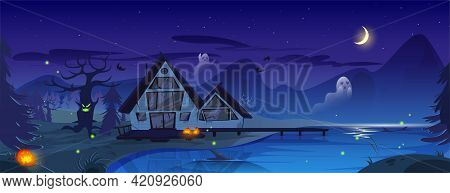 Halloween Spooky Illustration With Old Scary House, Pumpkins, Ghosts And Bats. Vector Cartoon Night
