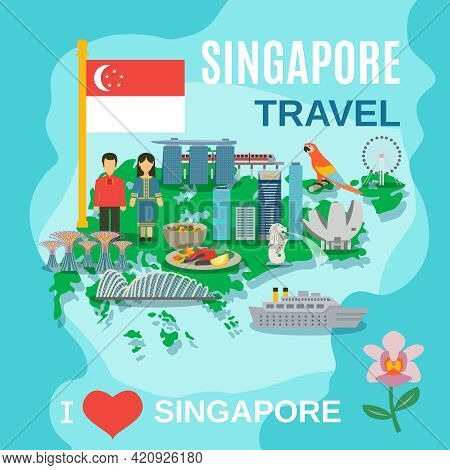 Singapore Travel Poster With Places Of Interest And Cultural Symbols On The Map Flat Abstract Vector
