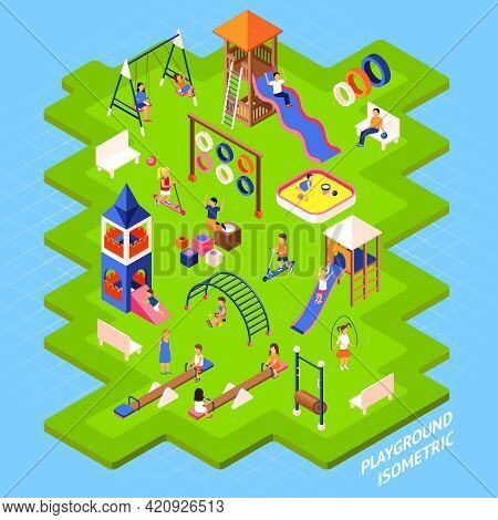 Poster Of Playgrond Slides Obstacles And Other On Green Islet And Playing Children Isometric 3d Vect