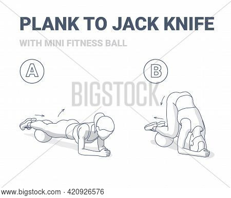 Female Doing Plank To Twist Jack Knife With Mini Fit Ball Home Workout Exercise Guide Illustration.