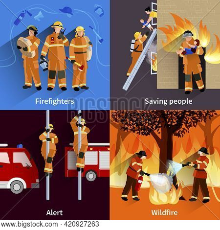 Firefighter People 2x2 Design Compositions Of Firefighters Crew Alerting Wildfire And Saving People