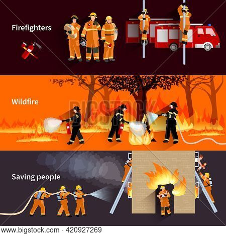 Horizontal Firefighter People Banners With Firefighters Alerting Wildfire And Brigade Extinguishing