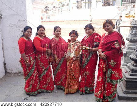 Nepalese Girl And Nepal People Join In Ceremony Ritual Selection Process Kumari Devi Or Living Durga