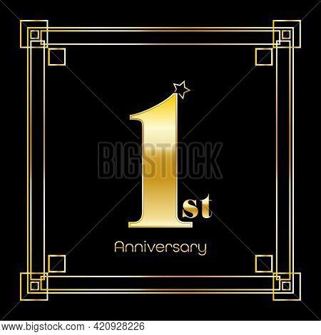 Number One Logo Design With Square Ornament, Luxury Golden Design, Anniversary Concept, Vector Illus