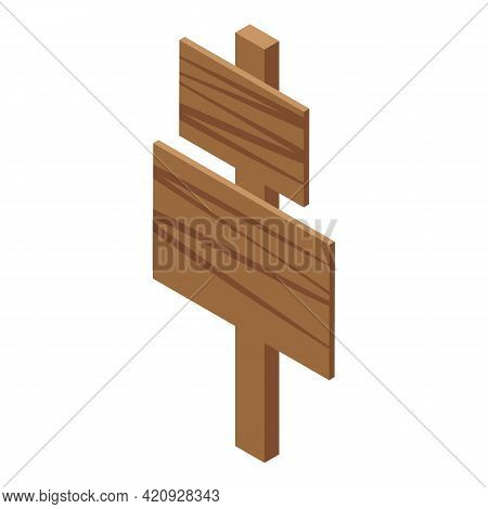 Wooden Indicator Icon. Isometric Of Wooden Indicator Vector Icon For Web Design Isolated On White Ba