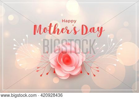 Beautiful Happy Mothers Day Rose Card Design