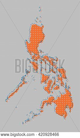 Vector Asia Country Map Philippines, Info Graphic