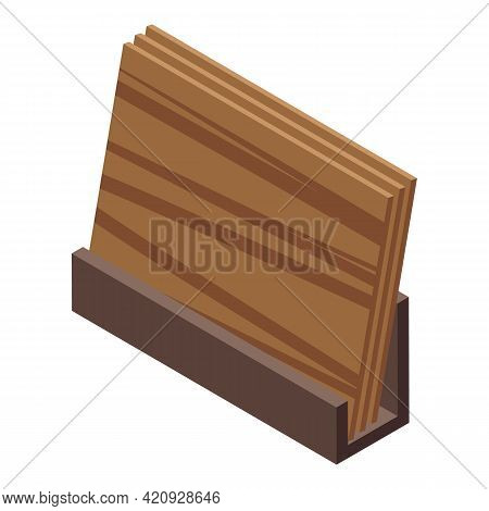 Plywood Production Icon. Isometric Of Plywood Production Vector Icon For Web Design Isolated On Whit