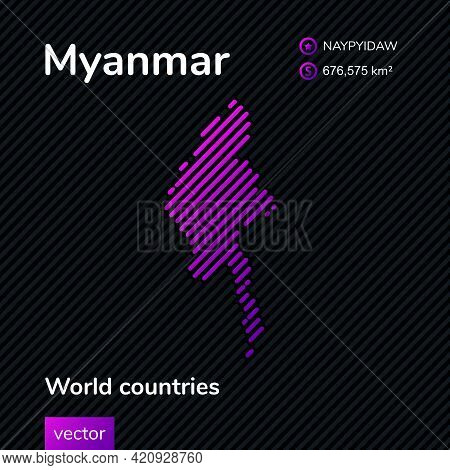 Vector Creative Digital Neon Flat Line Art Abstract Simple Map Of Myanmar With Violet, Purple, Pink