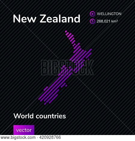 Vector Creative Digital Neon Flat Line Art Abstract Simple Map Of New Zealand With Violet, Purple, P