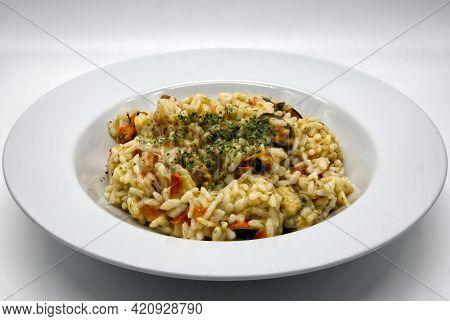 Delicious Italian Seafood Risotto (risotto Ai Frutti Di Mare)