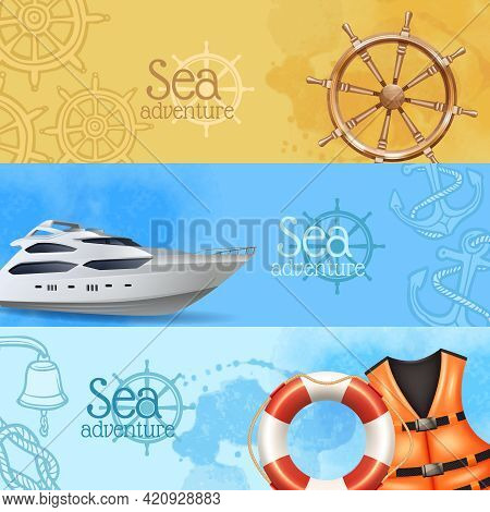 Sea Adventure And Travel Horizontal Realistic Banners Set With Yacht And Helm Isolated Vector Illust