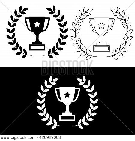 Champion's Cup Icon. Winner's Cup Sign. Champion's Cup Line Symbol. Flat Style.