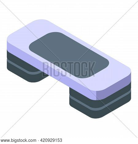 Fitness Step Board Icon. Isometric Of Fitness Step Board Vector Icon For Web Design Isolated On Whit