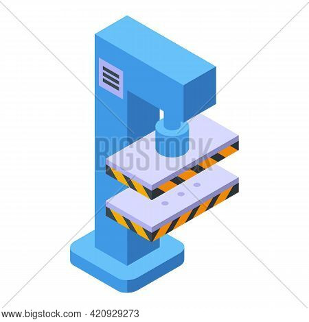 Form Press Machine Icon. Isometric Of Form Press Machine Vector Icon For Web Design Isolated On Whit