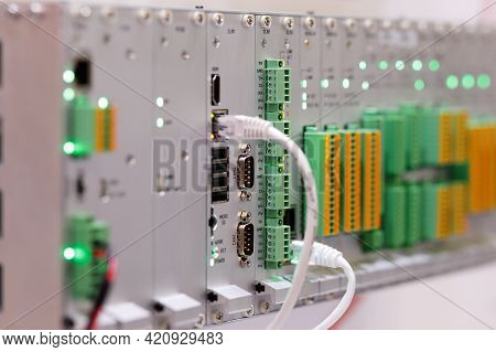 Industrial Plc Based Modular Controller System In A Rack. Selective Focus.