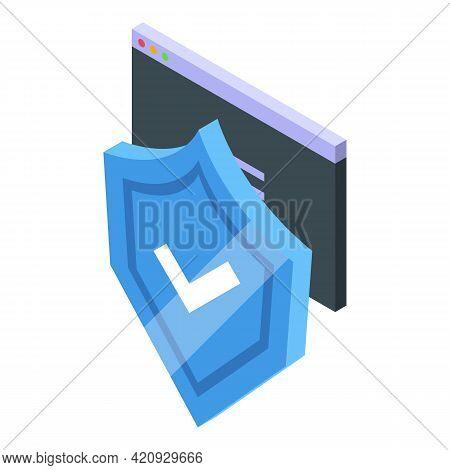 Antivirus Shield Icon. Isometric Of Antivirus Shield Vector Icon For Web Design Isolated On White Ba