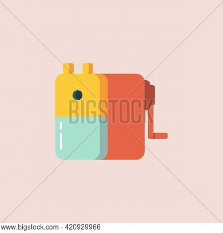 Pencil Sharpener In Flat Style Icon. Vector Illustration