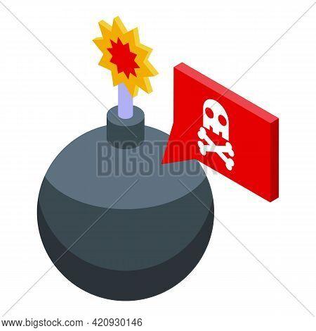Bomb Password Protection Icon. Isometric Of Bomb Password Protection Vector Icon For Web Design Isol