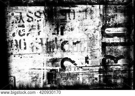 Abstract Grunge Futuristic Cyber Technology Background.  Drawing On Old Grungy Framed Surface. Vinta
