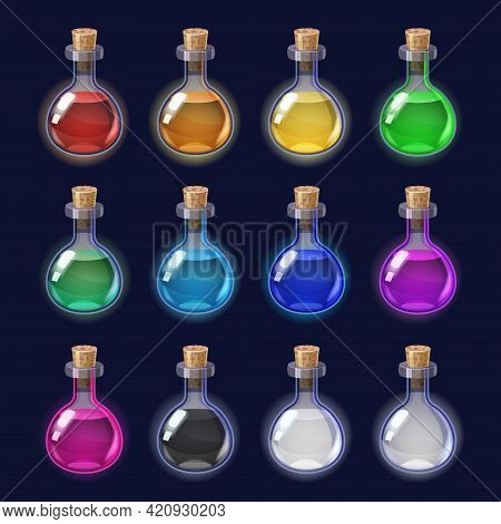 Set Bottles Liquid Potion Magic Elixir Colorful . Game Icon Gui For App Games User Interface. Vector