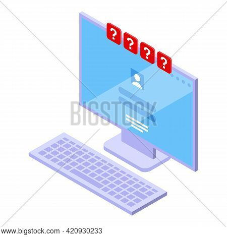 Computer Password Protection Icon. Isometric Of Computer Password Protection Vector Icon For Web Des