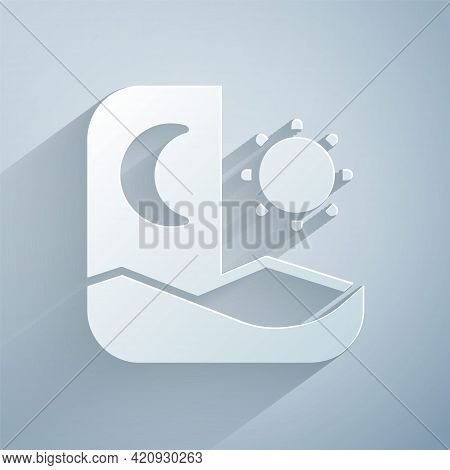 Paper Cut Ramadan Fasting Icon Isolated On Grey Background. Fast Day And Night. Religious Fasting. P