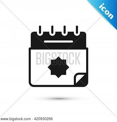 Grey Ramadan Calendar Icon Isolated On White Background. Ramadan Kareem And Islamic Symbols. Vector