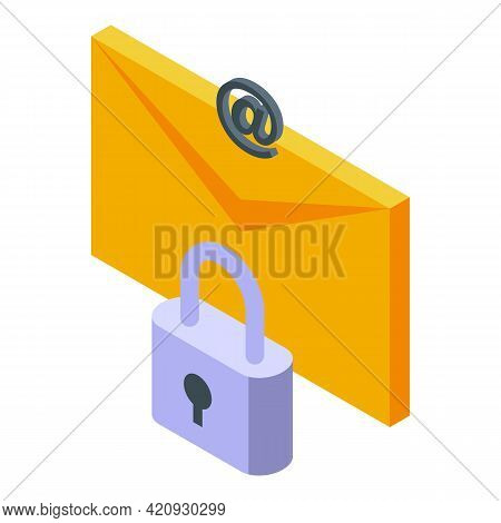 Mail Password Protection Icon. Isometric Of Mail Password Protection Vector Icon For Web Design Isol