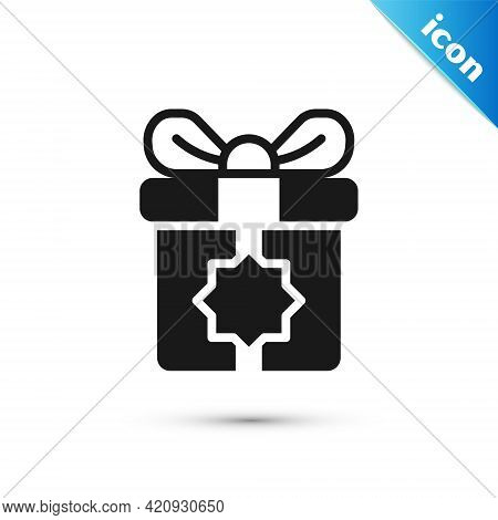 Grey Gift Box Icon Isolated On White Background. Holy Month, Ramadan, Christmas Present Wrapped Pack