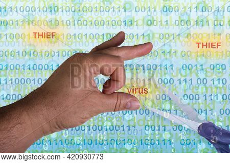 Hand with digital text and numbers background