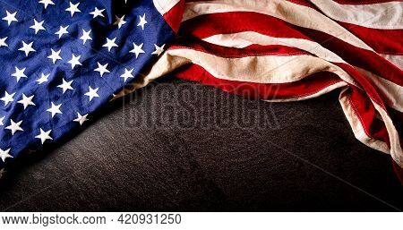 Happy Memorial Day, Independence Day Concept Made From American Flag On Dark Stone Background.