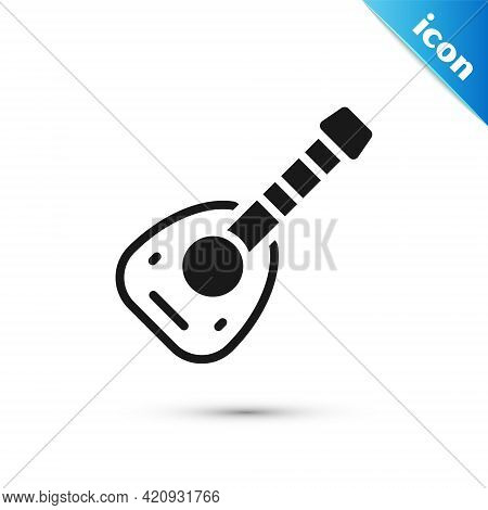 Grey Musical Instrument Lute Icon Isolated On White Background. Arabic, Oriental, Greek Music Instru