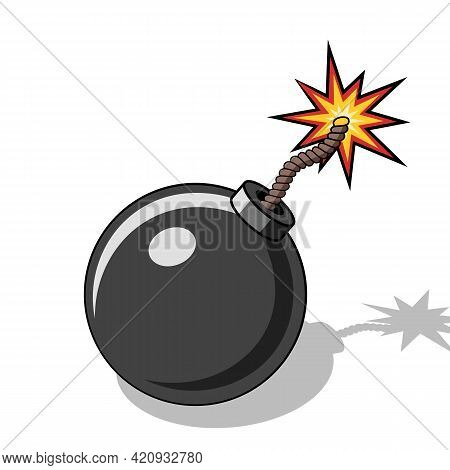 Cartoon Bomb Icon With Burning Wick And Shadow On White Background. Vector Illustration