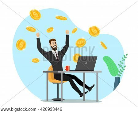 Successful Businessman With Laptop Get Money . Online Income Commerce Business Man. Joyful Person Ma