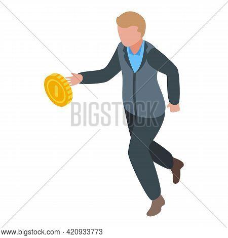 Successful Career Money Run Icon. Isometric Of Successful Career Money Run Vector Icon For Web Desig