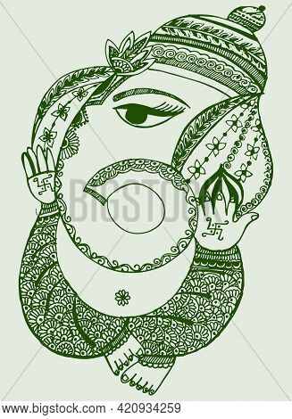 Sketch Of Lord Ganesha Outline And Silhouette Editable Illustration