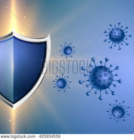 Coronavirus Protection Shield With Good Immune System Concept