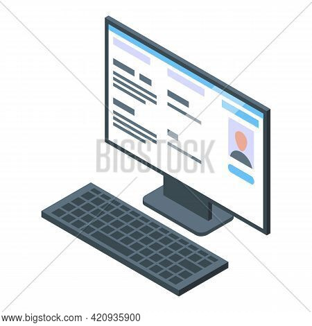 Electronic Patient Card Computer Icon. Isometric Of Electronic Patient Card Computer Vector Icon For
