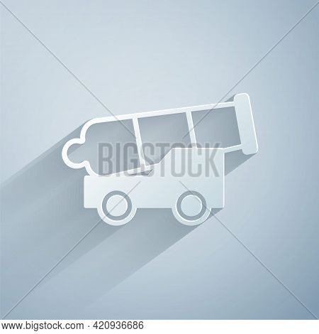 Paper Cut Cannon Icon Isolated On Grey Background. Medieval Weapons. Paper Art Style. Vector