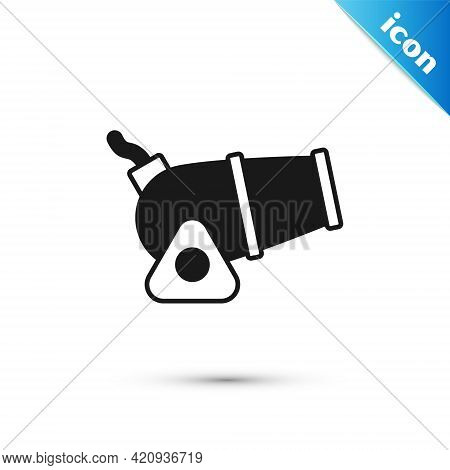 Grey Cannon Icon Isolated On White Background. Medieval Weapons. Vector